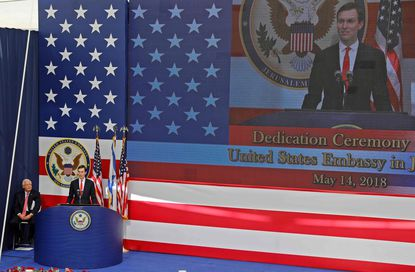 Senior White House Advisor Jared Kushner delivers a speech during the opening of the U.S. embassy in Jerusalem on May 14, 2018.