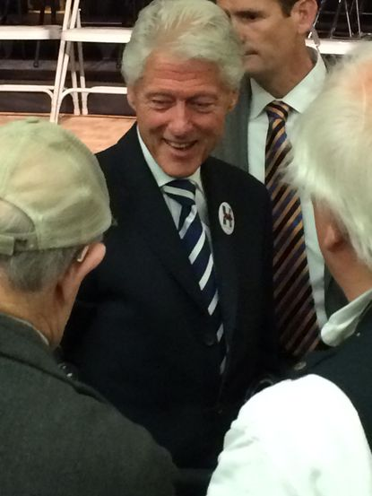 Former President Bill Clinton campaigns for his wife Hillary at Leisure World.