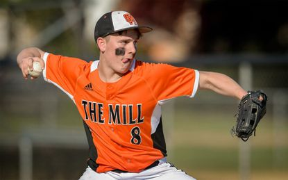 Oakland Mills senior Tim Brumbaugh pitched five shutout innings, allowing only one hit to Wilde Lake, to lead the Scorpions to their second straight victory on Monday afternoon at Oakland Mills.