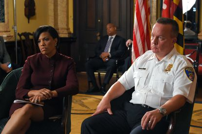 Baltimore Mayor Stephanie Rawlings-Blake and Baltimore Police Commissioner Kevin Davis speak during an interview with Baltimore Sun reporters at City Hall, reacting to the Dept. of Justice's 163-page report detailing law enforcement's continued violation of constitutional rights, unlawful stops and excessive force.
