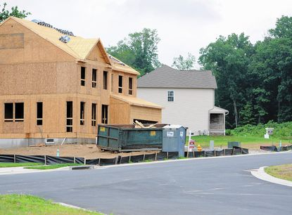 Homes under construction in the Richmond American Homes neighborhood of Blake's Legacy II, off Red Pump Road near Bel Air, are among the few new units being built this year in Harford County.