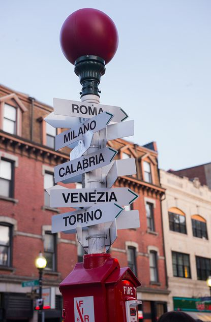 All roads lead to Italy from Hanover Street in Boston's North End.