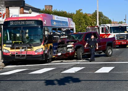A car collided with an MTA bus in Essex on Monday, Oct. 14. Baltimore County fire officials said seven people were injured in the crash.
