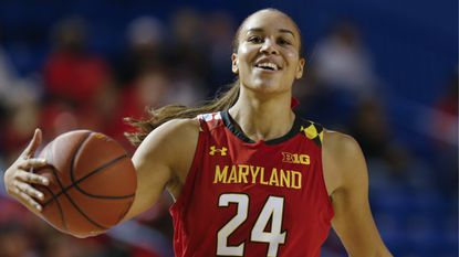 Maryland forward Stephanie Jones (24) in action during a game against Delaware, Thursday, Dec. 20, 2018, in Newark, Del.