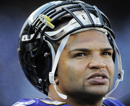 Ravens linebacker Brendon Ayanbadejo looks toward the field last season against the Indianapolis Colts.