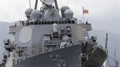The U.S. Navy warship USS John McCain, an Arleigh-Burke class destroyer, docked at the Subic Freeport about 70 miles west of Manila, Philippines in 2014. File.