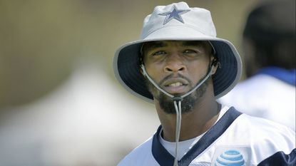 The Cowboys' Tavon Austin sports a sun hat during the morning walk through at training camp Friday, July 27, 2018 in Oxnard, Calif.