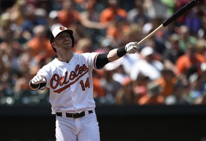 Orioles outfielder Nolan Reimold reacts after hitting a long fly ball that goes foul against the Detroit Tigers on Aug. 2.