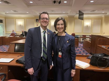Sens. Justin Ready, left, and Katie Fry Hester, right, co-sponsored a bill, which became law, that allows the school systems of Carroll and Howard counties to create a school that works across district lines.