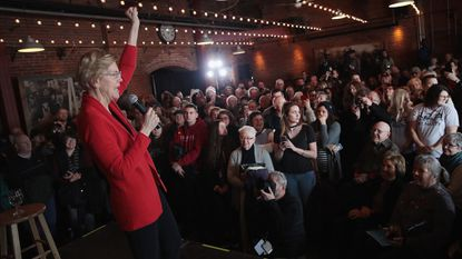 Massachusetts Sen. Elizabeth Warren, a Democratic presidential candidate, speaks at a March 1 campaign rally in Dubuque, Iowa. She unveiled her plan to break up tech giants Friday.