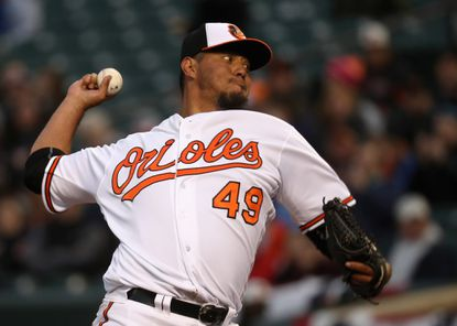 Starting pitcher Yovani Gallardo #49 of the Baltimore Orioles throws to a Minnesota Twins batter in the first inning at Oriole Park at Camden Yards on April 6, 2016 in Baltimore, Maryland.