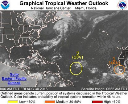 Tropical Gabrielle could soon form off the coast of West Africa, but otherwise the tropics have been quiet.