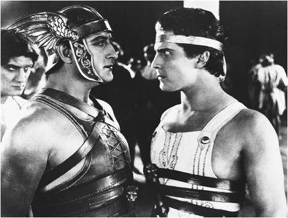 Francis X. Bushman, left, as Messala opposite Ramon Novarro's Ben-Hur in the 1925 film.