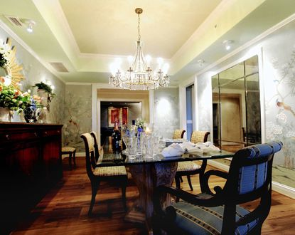 Shown is the formal dining room of the 3800 square foot residence at the Ritz Carlton on Key Highway of the Faders, Brian and Jodi.