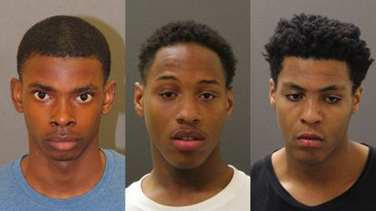 From left, Aaron Scott, 16, Jaquante Lide, 20, and Troy Barnes, 16, were arrested in connection with a string of armed robberies in Federal Hill.