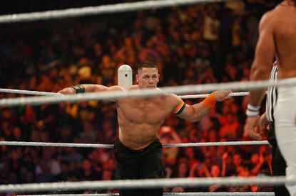John Cena prepares for his fight against Seth Rollins at the WWE SummerSlam 2015 at Barclays Center of Brooklyn on August 23, 2015 in New York City.
