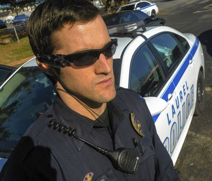 Laurel police officer, Pfc. Aaron Waddell wears a camera mounted on his sunglasses. While Laurel officers are currently required to wear them, Baltimore City and Baltimore County police departments, like other departments nationwide, are considering adopting the body-mounted devices.