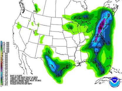 Rainfall levels could top 2 inches in parts of Maryland early this week.