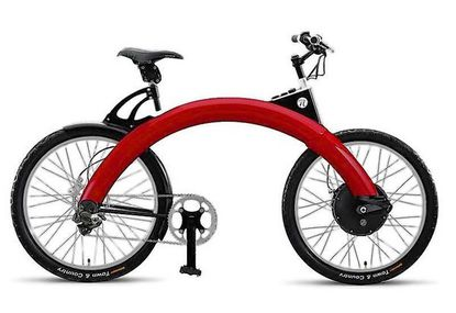 Striking electric/manual bike with anti-theft electronics and an arch-shaped aluminum frame swooping from hub to hub, which was originally sketched 20 years ago by Pasadena Art Center alum Marcus Hays.