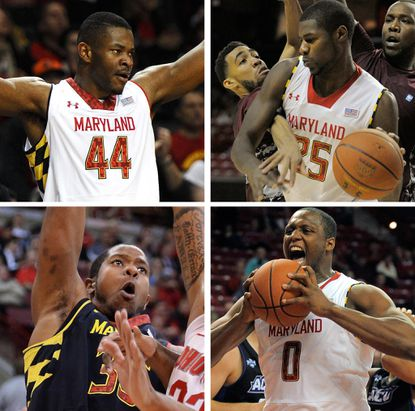 Clockwise from top left, Shaquille Cleare, Jonathan Graham, Charles Mitchell and Damonte Dodd all have had ups and downs this season for the Terps in the paint. Cleare is likely to start Saturday against Georgia Tech.