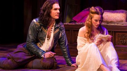 "Nicholas Carriere as Will, Emily Trask as Viola in ""Shakespeare in Love"" at Baltimore Center Stage."