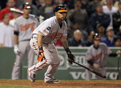 Robert Andino drives in three runs with a bases-loaded double to give the Orioles a 7-5 lead over the Red Sox in the eighth inning. The Orioles would hold on to win at Fenway Park.