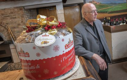 Pasta Plus owner Max Mazziotti talks about the 44-pound panettone Pasta Plus raffled for charity.