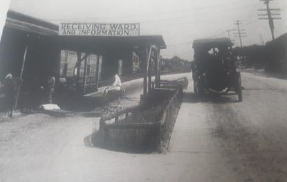 Camp Meade was the epicenter of the epidemic in Maryland. This is a photo of the base hospital receiving ward in early 1919.