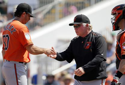 Baltimore Orioles starting pitcher Miguel Gonzalez (50) turns the ball over to manager Buck Showalter in the third inning of a spring training baseball game against the Minnesota Twins on Sunday, March 13, 2016, in Fort Myers , Fla. (AP Photo/Tony Gutierrez)