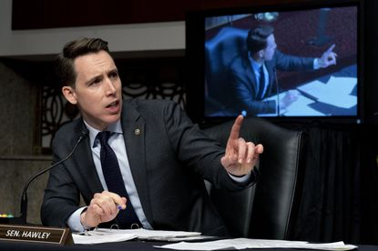 Sen. Josh Hawley, R-Mo., speaks at a Senate Homeland Security and Governmental Affairs & Senate Rules and Administration joint hearing on Capitol Hill, Washington, Tuesday, Feb. 23, 2021, to examine the Jan. 6 attack on the Capitol. (AP Photo/Andrew Harnik, Pool)