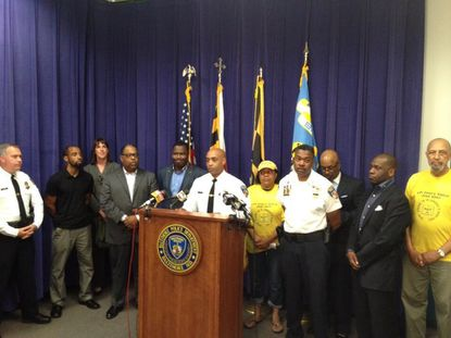 Baltimore Police Commissioner Anthony Batts was joined by faith and community leaders Saturday night in calling for a peaceful response to the verdict in the George Zimmerman trial.