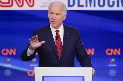 Former Vice President Joe Biden participates in a Democratic presidential primary debate at CNN's studios in Washington on March 15, 2020.