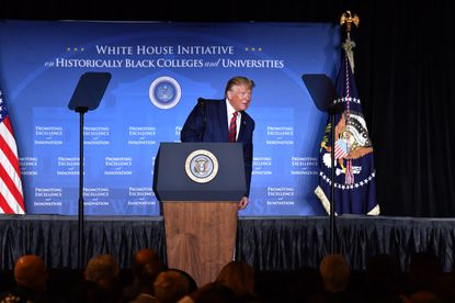 President Donald Trump speaks at the 2019 National Historically Black Colleges and Universities Week Conference last September.
