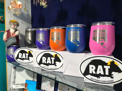 Rat merchandise for sale at Zelda Zen gift shop in Fells Point in response to comments made by President Donald Trump. Trump has called Baltimore a 'rat and rodent infested' city.