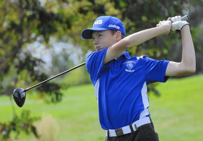 Liberty's Andrew Swanson tees off during the district golf tournament at the Black Rock Golf Course in Hagerstown on Tuesday.