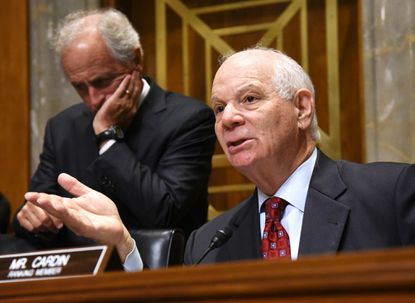 Washington , DC-7/29/15- MD Senator Ben Cardin, ranking member of the Senate Foreign Relations Committee, seated next to Chairman, Sen Bob Corker of TN, at left, during the hearing in the Dirksen Senate office building. File