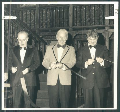 Center Stage opened in its new home in December 1975, with Mayor William Donald Schaefer (left), State Comptroller Louis L. Goldstein (center) and Baltimore County Executive Theodore Venetoulis (right) sharing ribbon cutting honors. (Harris/Baltimore Sun archives)