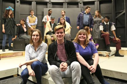 Patsy Zetkulic, from left, Zack Callis and Kendall Harnsberger are the McDaniel College students directing one-act plays in the Student-Directed Play Festival, which will be presented Wednesday through Saturday at the college. Last row, from left, includes McDaniel student actors Mara Flynn, Imani Jackson, Matthew Zwick, Kevin Tyson, TJ Rigg, Becca MacDonald, James Fagan, Matt Foley, Sophia Gilbart, Nicholle D'Anna and Darrick Rowe.