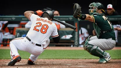 Orioles catcher Pedro Severino avoids concussion after being hit in head with pitch