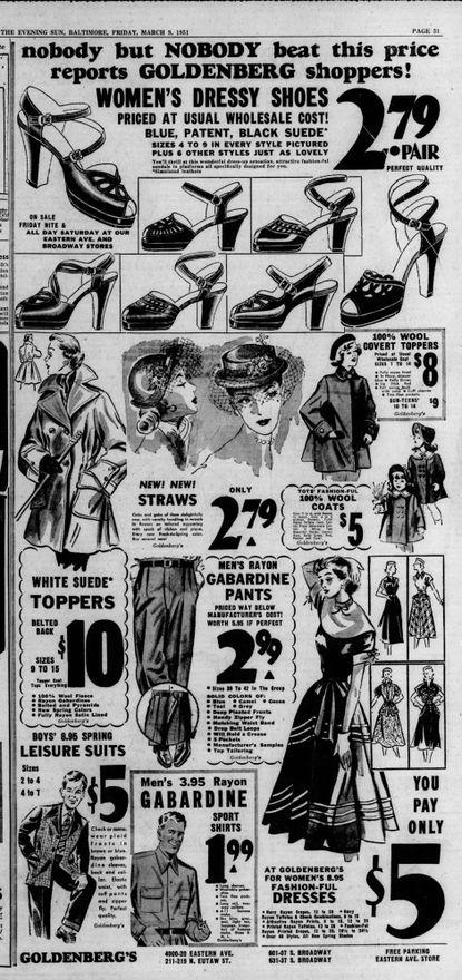 Goldenberg's stores advertisement for $5 suits and dresses and $2.79 dress shoes appeared in the Evening Sun on March 9, 1951. (Baltimore Sun).