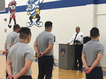 Baltimore Police Commissioner Michael Harrison welcomed 32 new officers to the police academy on Monday March 9.