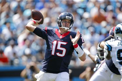 Houston Texans quarterback Ryan Mallett (15) throws a pass during a game against the Carolina Panthers at Bank of America Stadium.
