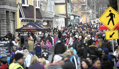 Crowds pack Main Street in downtown Sykesville during IceFest Saturday, Feb. 6.