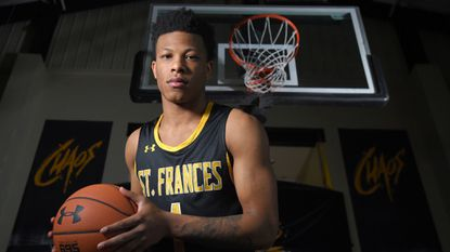 Portrait shot of the All-Metro boys basketball Player of the Year, St. Frances guard Adrian Baldwin.