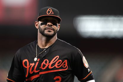 Baltimore Orioles shortstop Jonathan Villar looks on during the first inning of a baseball game against the Seattle Mariners, Friday, Sept. 20, 2019, in Baltimore.