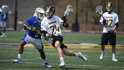 Brendan Sunday, pictured playing against Delaware last season, posted nine points in Towson's win over Georgetown on Saturday.