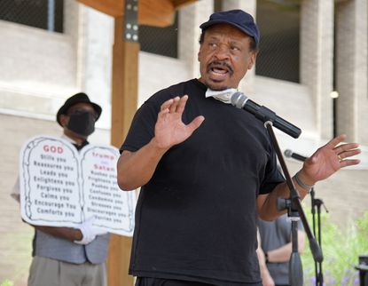 Annapolis civil rights activist and Convener of the Caucus of African American Leaders Carl Snowden gives remarks. A march and rally were held Saturday in Annapolis to protest the killing of George Floyd by Minneapolis police and draw attention to the greater problem of blacks being killed by police in America. Snowden released a book of this month containing some of his Capital columns on race, politics, history and life in Anne Arundel County.