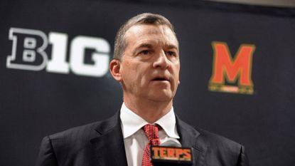 Maryland men's basketball head coach Mark Turgeon speaks to sports media during media day at Xfinity Center.
