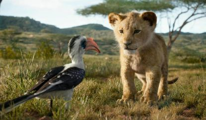 """Zazu (left, voiced by John Oliver) and young Simba (voiced by JD McCrary) have a heart-to-heart chat in """"The Lion King."""""""