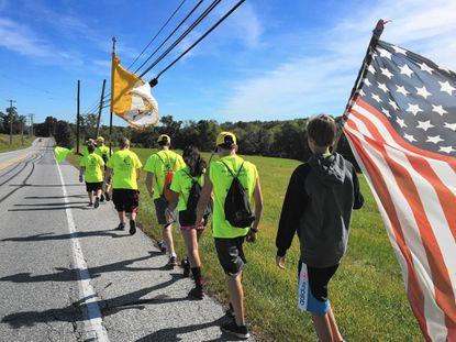 Walkers leave Maryland and enter Pennsylvania while on their pilgrimage to see the Pope Sept, 24._- Original Credit: Submitted photo